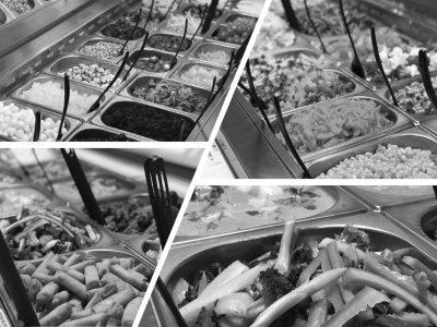 sort hvis billede af mad buffet